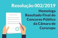 Homologação Resultado Final do Concurso Público da Câmara